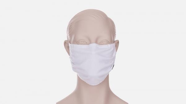 Wiederverwendbare Behelfs-, Mund- und Nasenmaske mit Gummi, weiss