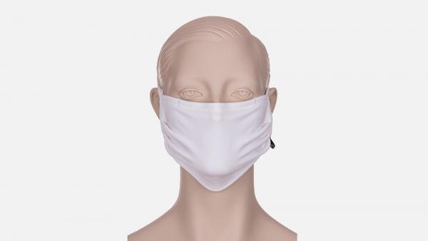 Wiederverwendbare Behelfs-, Mund- und Nasenmaske zum Binden, weiss